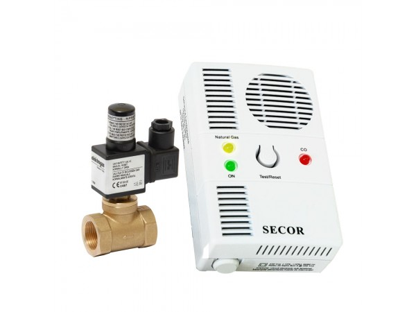 Detector de gaz metan si monoxid Secor 2000 cu electrovalva de alama 3/4, 5 ani durata de viata